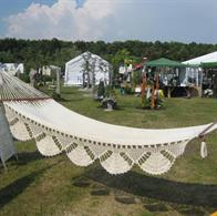 Off-white Deco Park Deluxe hammock with decorations. No. 22-Off white. Deco Park.